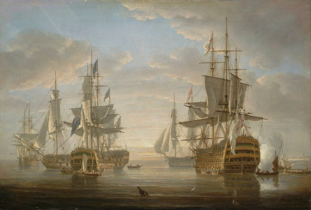 Detail of Nelson's flagships at anchor by Nicholas Pocock