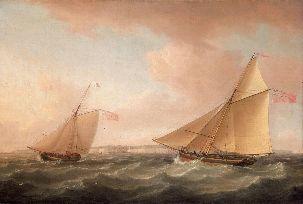 Detail of A Trinity House yacht and a revenue cutter off Ramsgate by Thomas Whitcombe