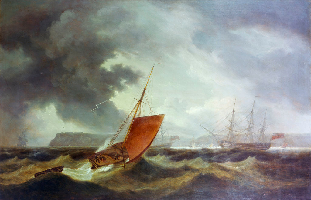 Detail of A Brixham trawler running into Torbay by Thomas Luny