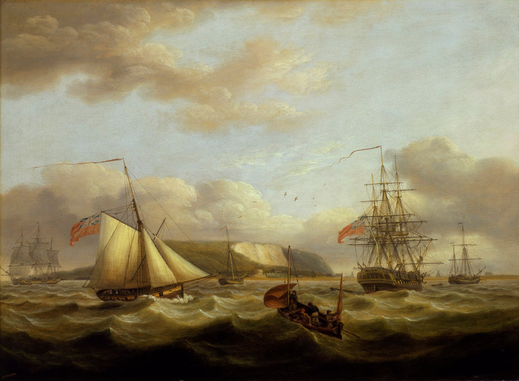 Detail of A cutter passing astern of a frigate by Thomas Luny