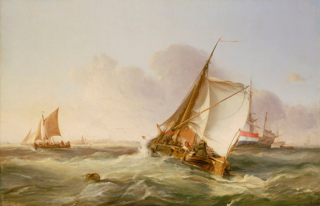 Detail of A Dutch boeier in a fresh breeze by George Chambers