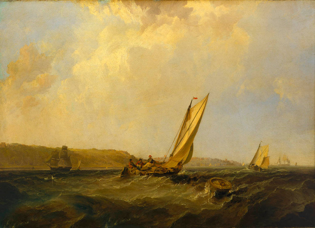 Detail of A sailing boat in a fresh breeze off Cowes by George Chambers the Elder