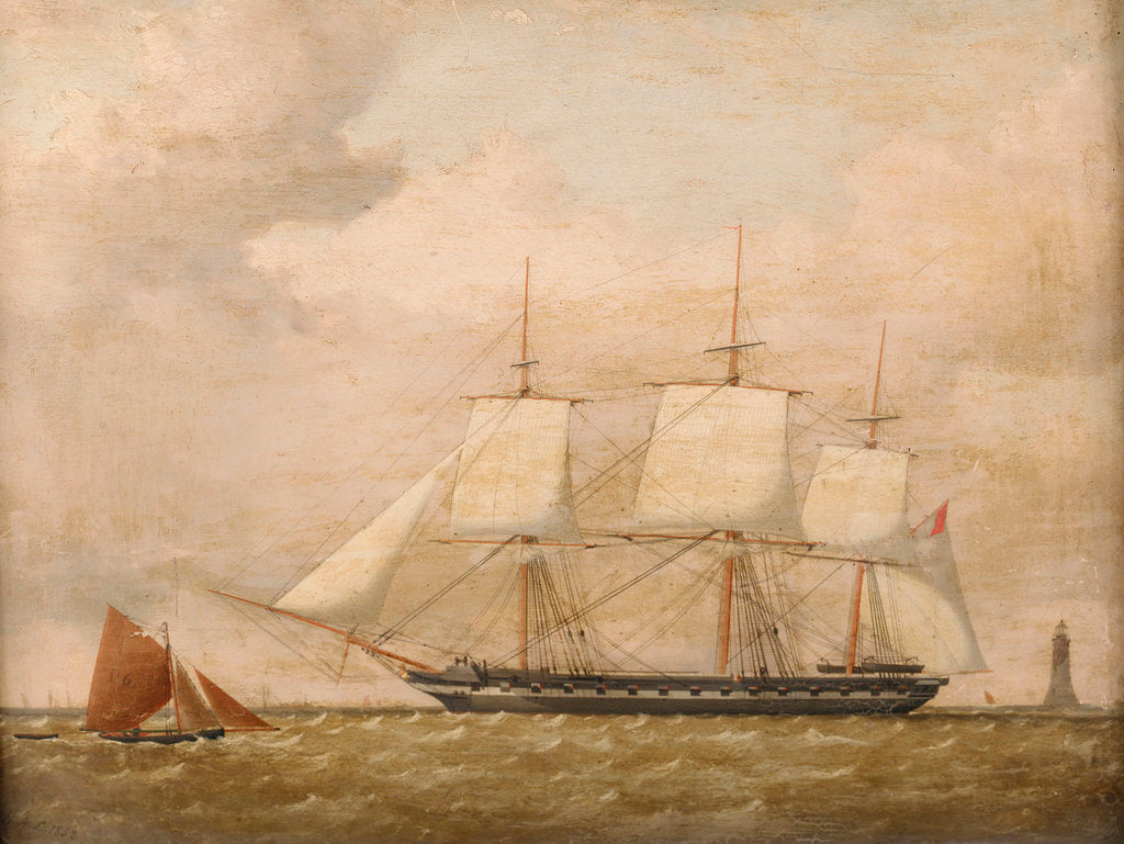 Detail of A frigate by Henry A. Luscombe