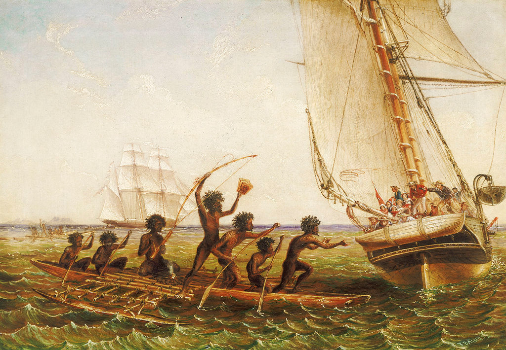 Detail of Aboriginal canoes communicating with Monarch and the Tom Tough, 28 August 1855 by John Thomas Baines