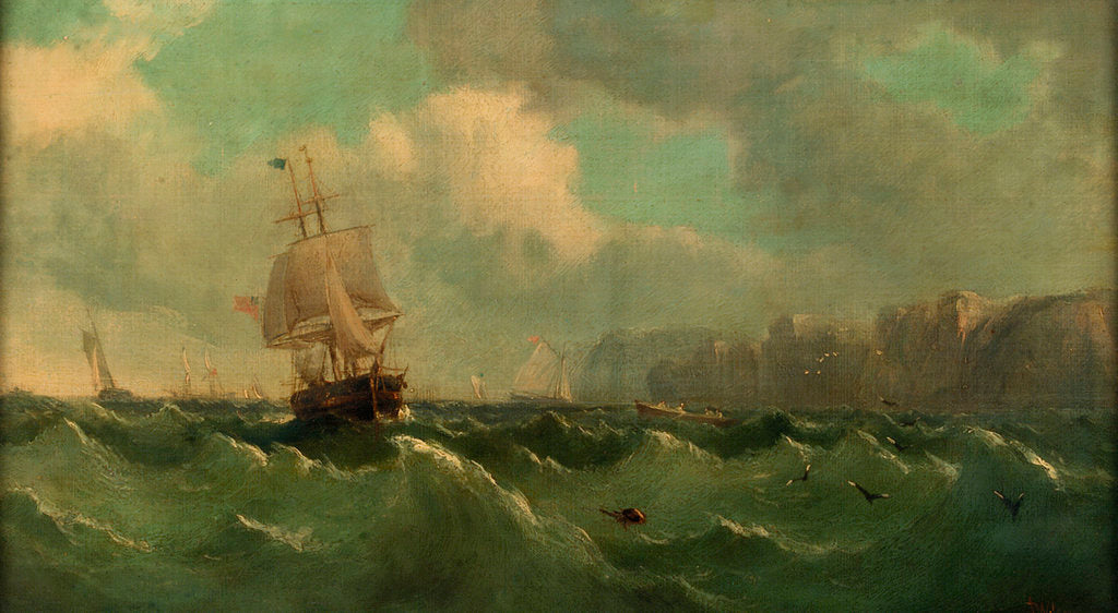 Detail of A ship off a high coast by John James Wilson
