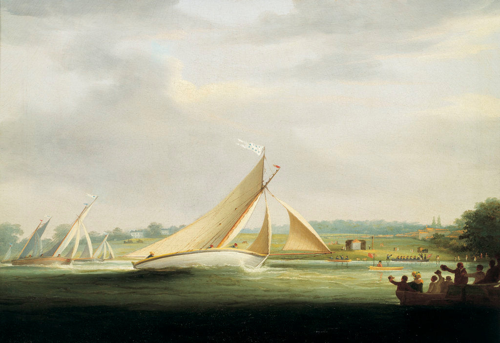 Detail of Yachts of the Cumberland Society racing on the Thames, circa 1815 by William Havell