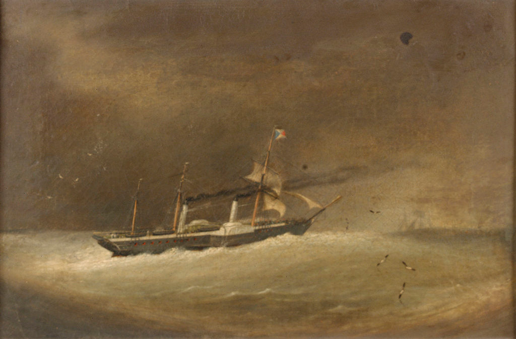 Detail of A P&O paddle steamer running before a gale by Robert Strickland Thomas