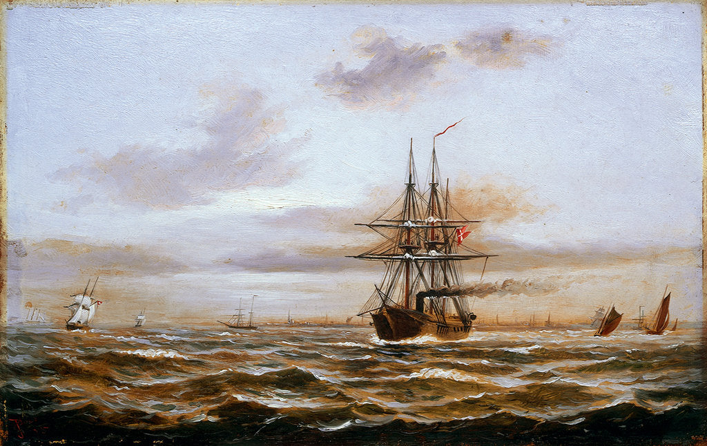 Detail of A Danish steam frigate by J. Gale