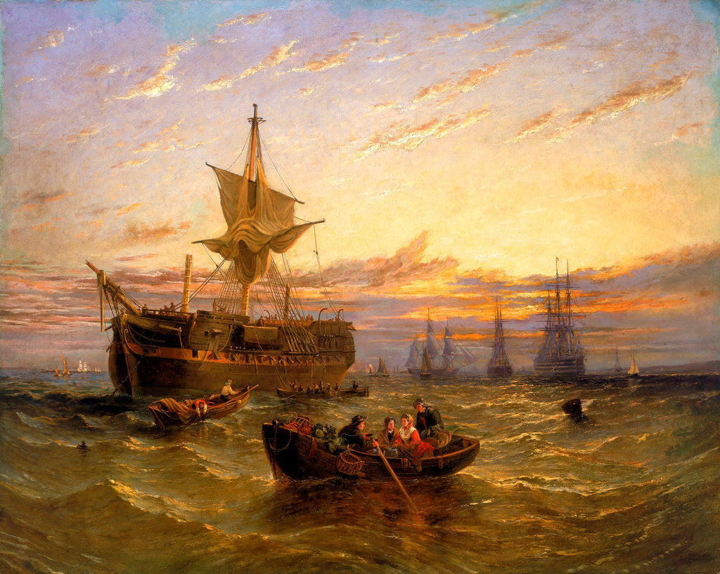 Detail of Indiamen in the Thames by William Adolphus Knell