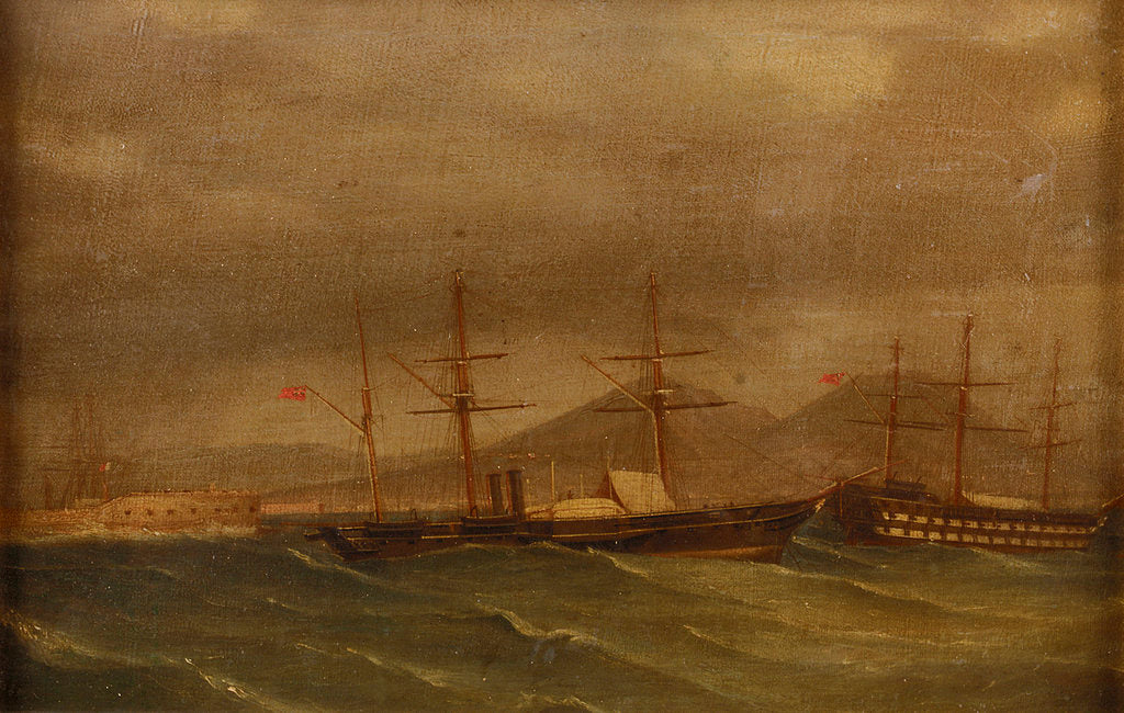 Detail of A paddle frigate in a rough sea off Naples by A. de Simone