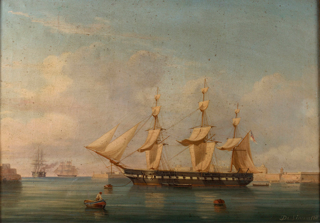 Detail of A frigate at Malta by A. de Simone