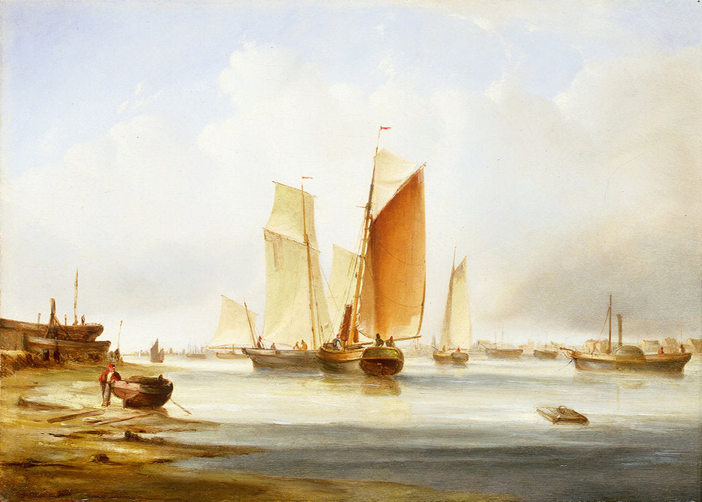 Detail of A harbour scene with fishing boats by Edward William Cooke