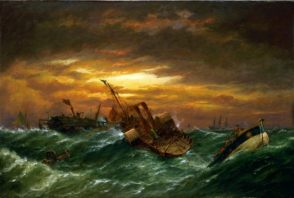 Detail of Shipwreck with a paddle tug towing a lifeboat in a gale by Richard Henry Nibbs
