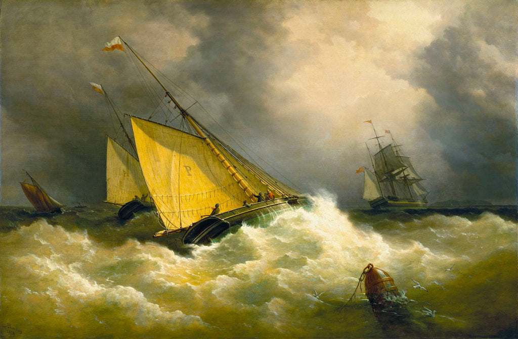 Detail of First come, first served. A pilot cutter racing to a ship by Richard Brydges Beechey