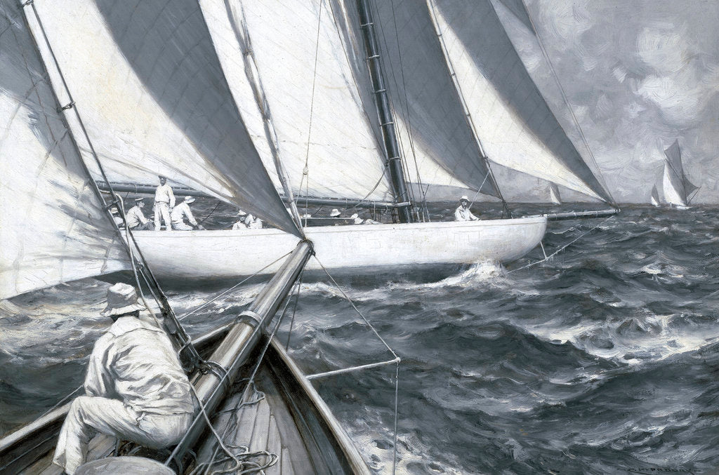 Detail of A yacht luffing by Charles M Padday