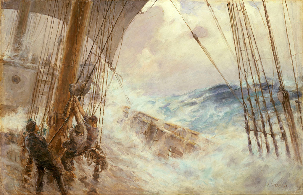 Detail of Clewing up the mainsail in heavy weather by Arthur John Trevor Briscoe