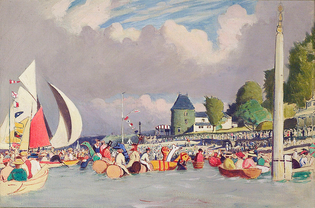 Detail of The Royal Yacht Squadron Club House, Cowes, at regatta time by John Everett