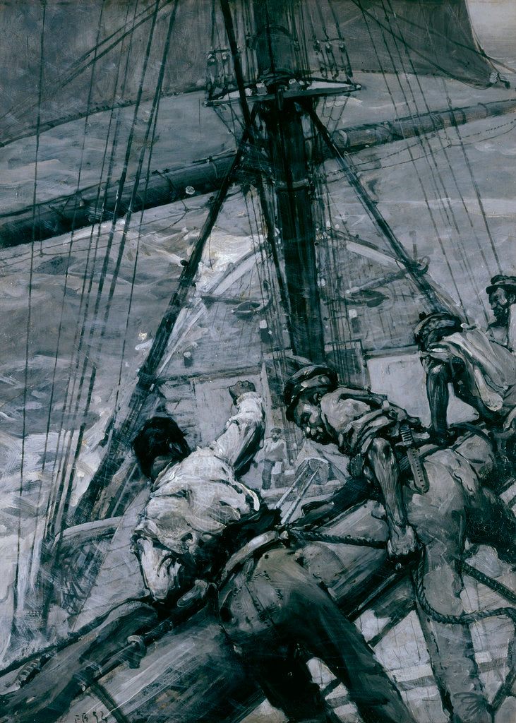 Detail of Heavy weather in the Channel: stowing the mainsail by Frank William Brangwyn