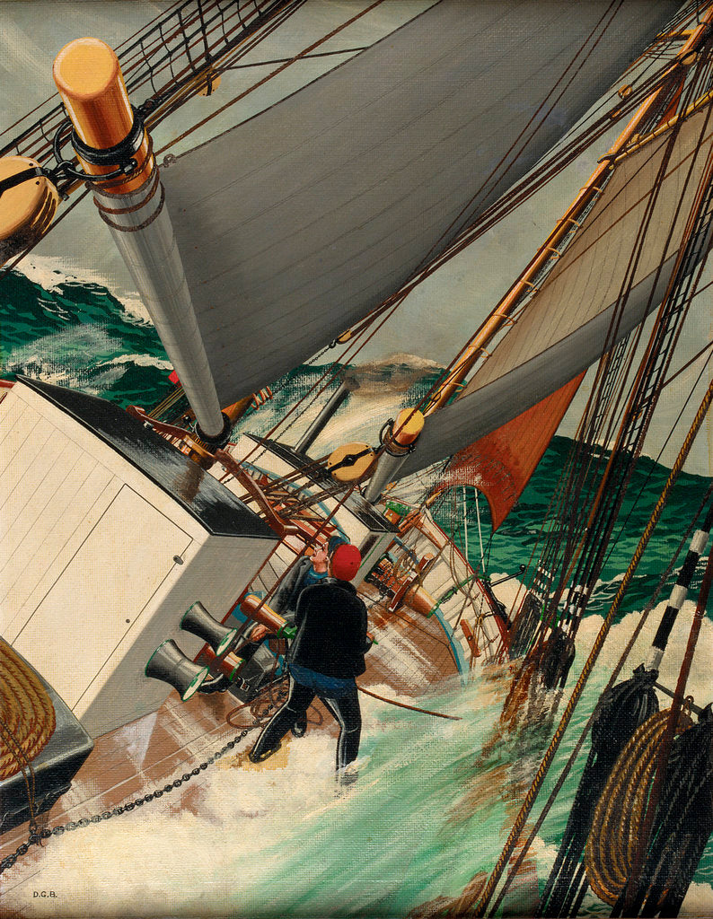 Detail of Reefing the mainsail by DG Bennett