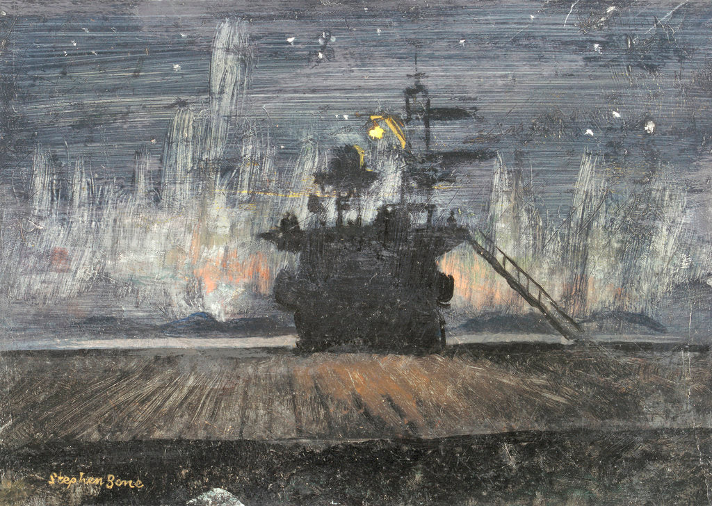 Detail of HMS 'Pursuer': view of an island against the Aurora Borealis by Stephen Bone