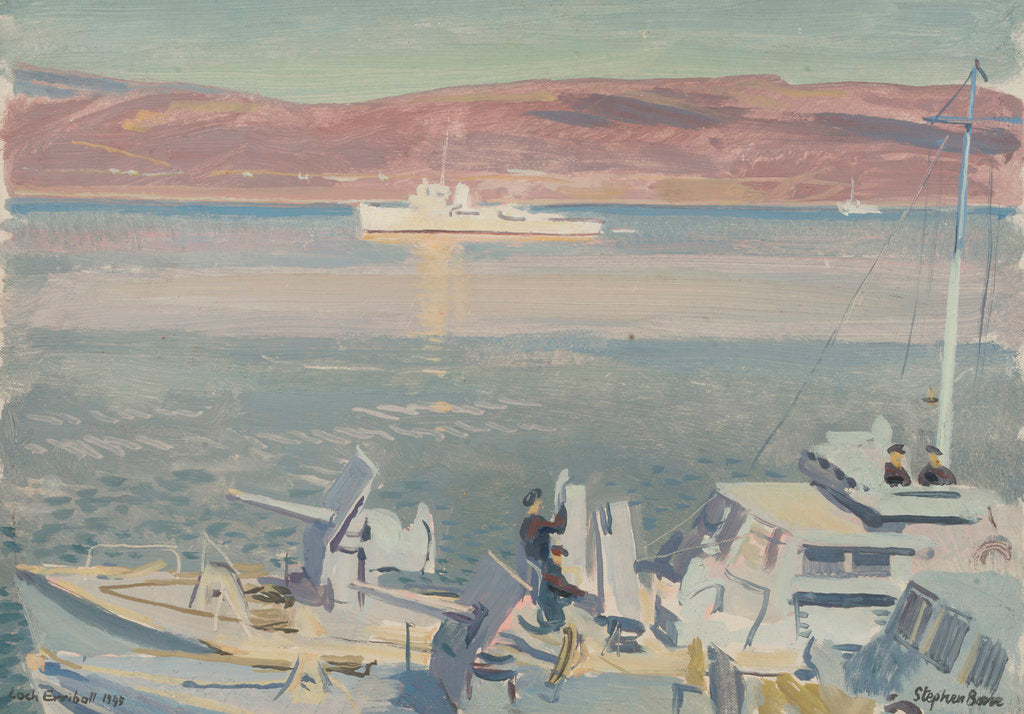 Detail of MGBs and HMS 'Conn' in Loch Eriboll in 1945 by Stephen Bone