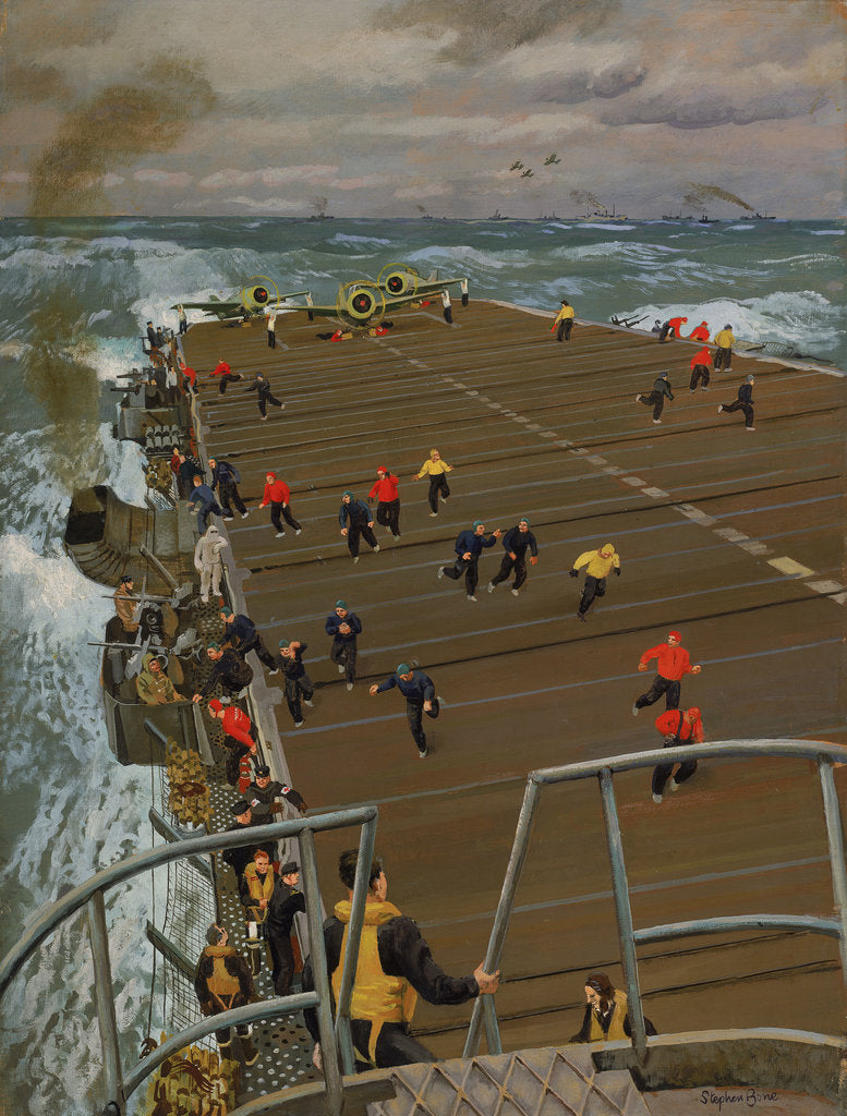 Detail of Clear Flight Deck: On board an aircraft carrier by Stephen Bone