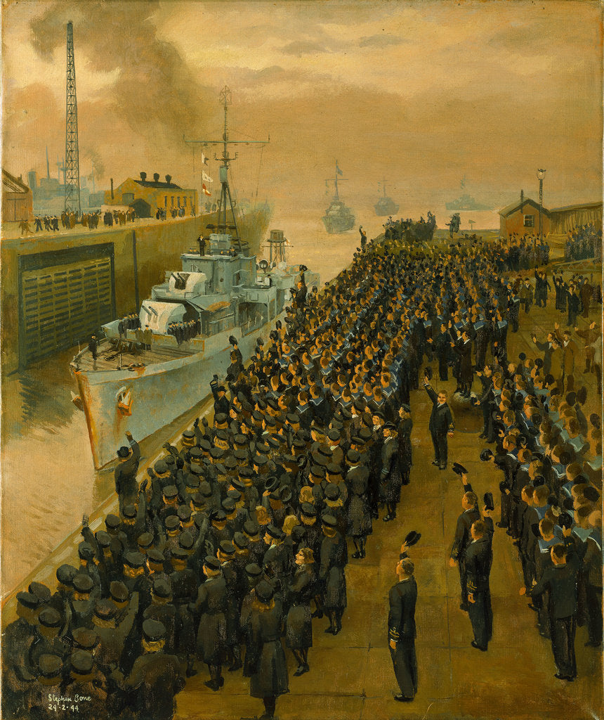 Detail of Arrival of second escort group of sloops at Liverpool by Stephen Bone