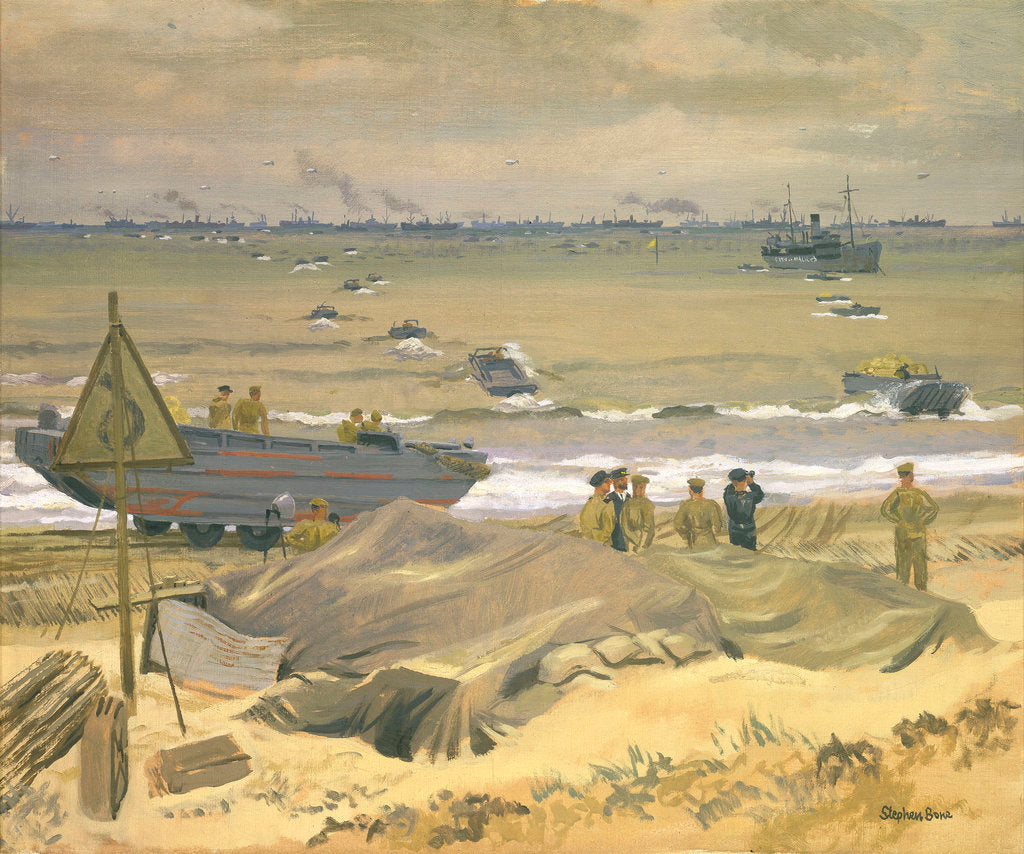 Detail of View of Courseulles with DUKWs landing stores by Stephen Bone