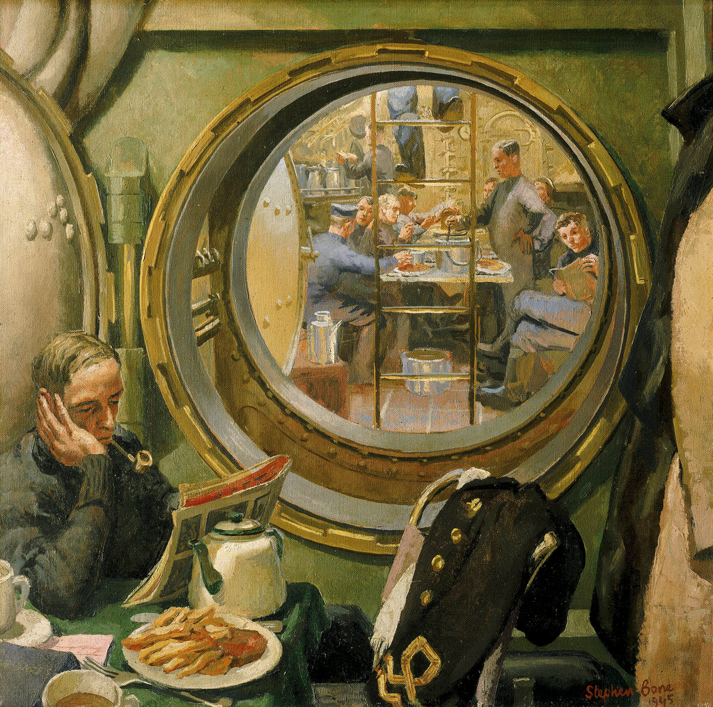 Detail of S-class submarine:The wardroom and forward mess deck by Stephen Bone