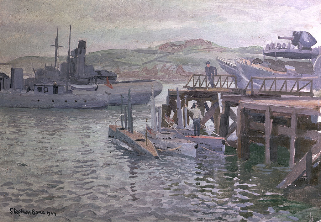 Detail of Midget submarines at Campbeltown by Stephen Bone