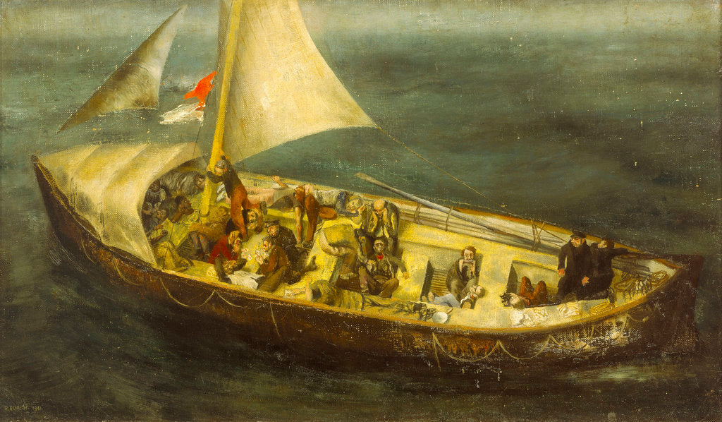 A ship's boat at sea by Richard Ernst Eurich