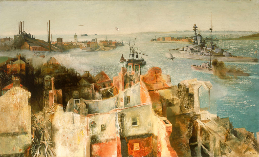 Detail of HMS 'Revenge' leaving harbour by Richard Ernst Eurich