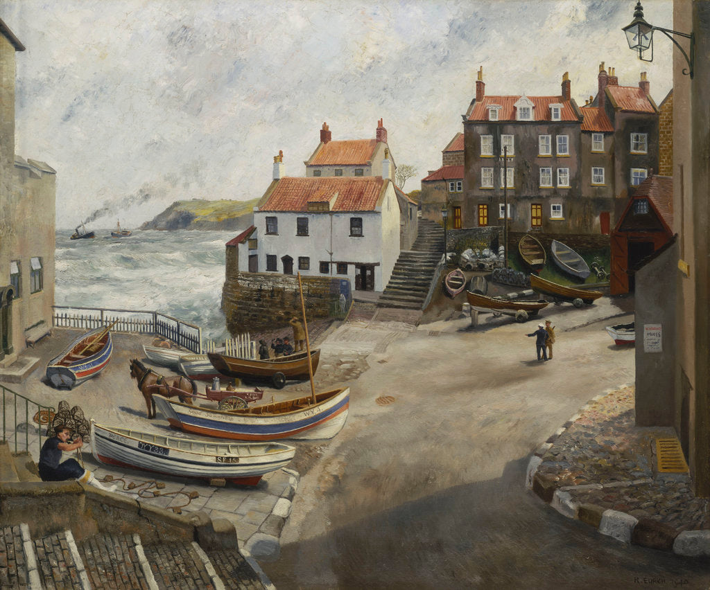 Detail of Robin Hood's Bay in wartime by Richard Ernst Eurich