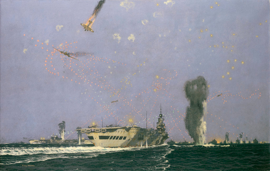Detail of Aircraft carriers in the Malta convoy by Charles Pears