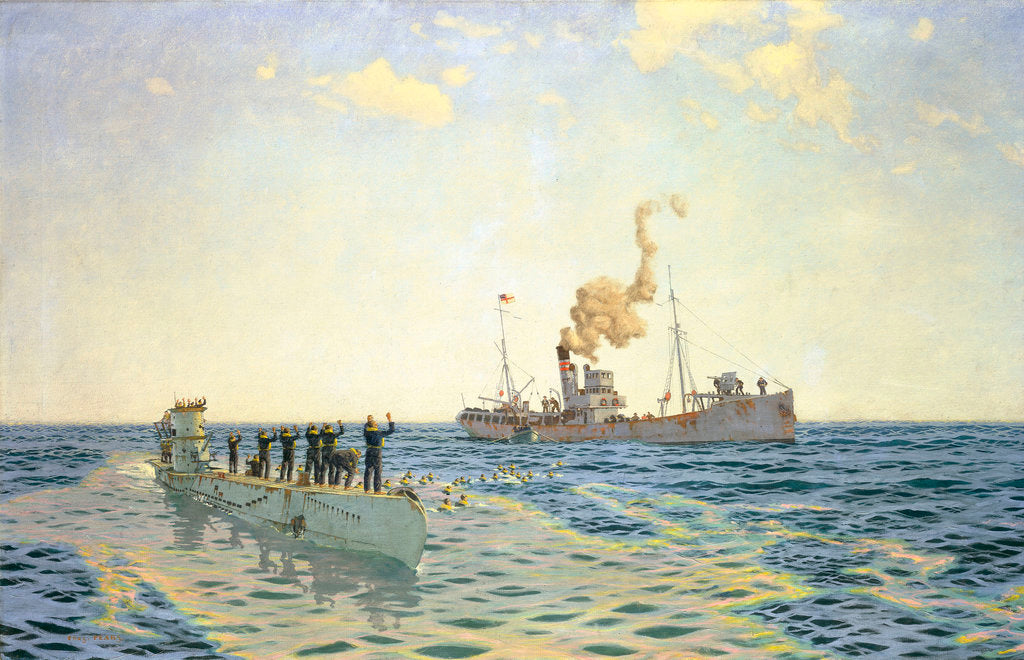 Detail of Surrender of U-111 to the trawler 'Lady Shirley' by Charles Pears