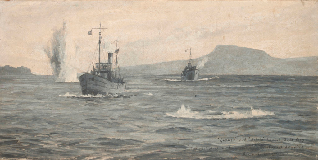 Detail of HMS 'Lanner' and 'Salvia' under bomb attack in Suda Bay by Rowland John Robb Langmaid
