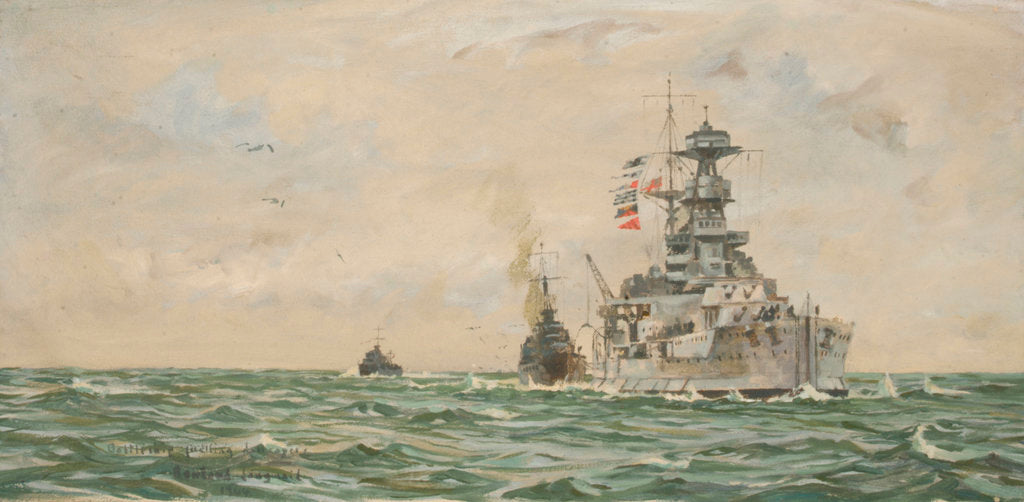 Detail of HMS 'Malaya' refuelling destroyers at sea by Rowland John Robb Langmaid