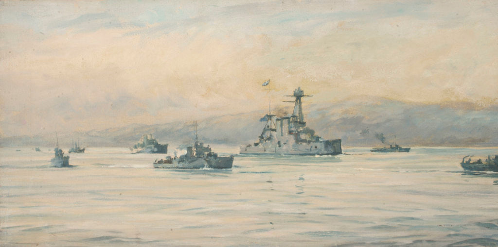 Detail of The Greek cruiser 'Averoff' and escorts by Rowland John Robb Langmaid