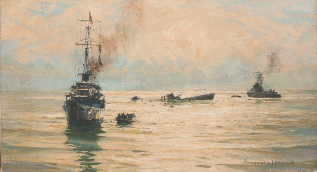 Detail of Picking up survivors from a sinking U-boat by Rowland John Robb Langmaid