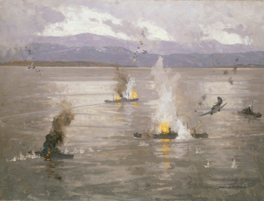 Detail of Beaufighters attacking an enemy convoy by Norman Wilkinson