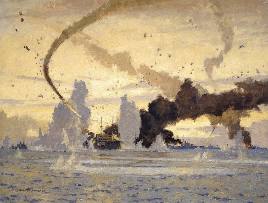 Detail of The 'Ohio' in the Malta convoy, 10-15 August 1942 by Norman Wilkinson