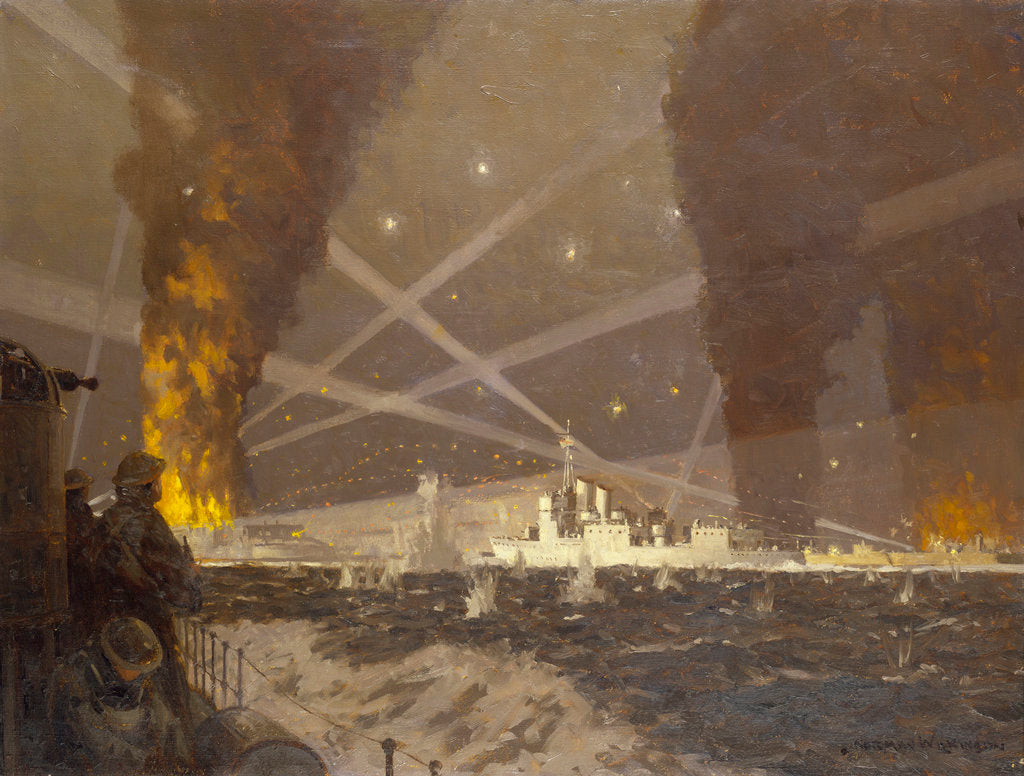 Detail of HMS 'Campbeltown' at St Nazaire, 27 March 1942 by Norman Wilkinson