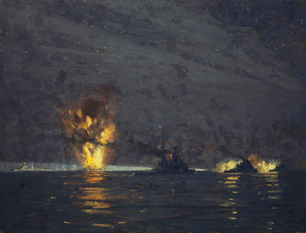 Detail of Night action off Cape Matapan, Greece, 28 March 1941 by Norman Wilkinson