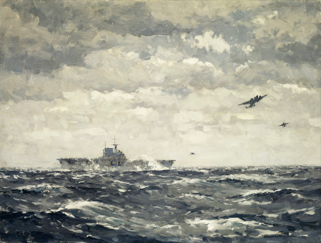 Detail of Mitchells taking off from US carrier 'Hornet', 18 April 1942 by Norman Wilkinson