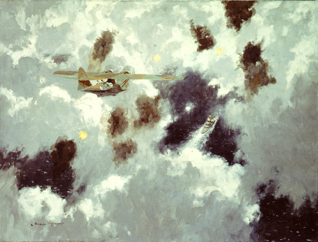 Detail of A Catalina flying boat sighting the 'Bismarck', 20 May 1941 by Norman Wilkinson