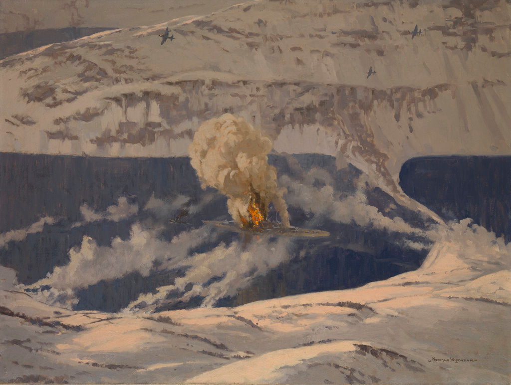 Detail of Barracudas bombing the 'Tirpitz', 3 April 1944 by Norman Wilkinson