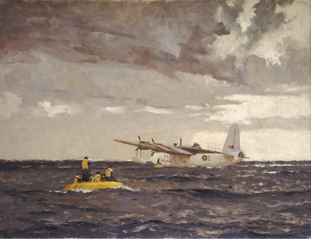 Detail of A Sunderland flying boat rescuing the crew of a Liberator by Norman Wilkinson