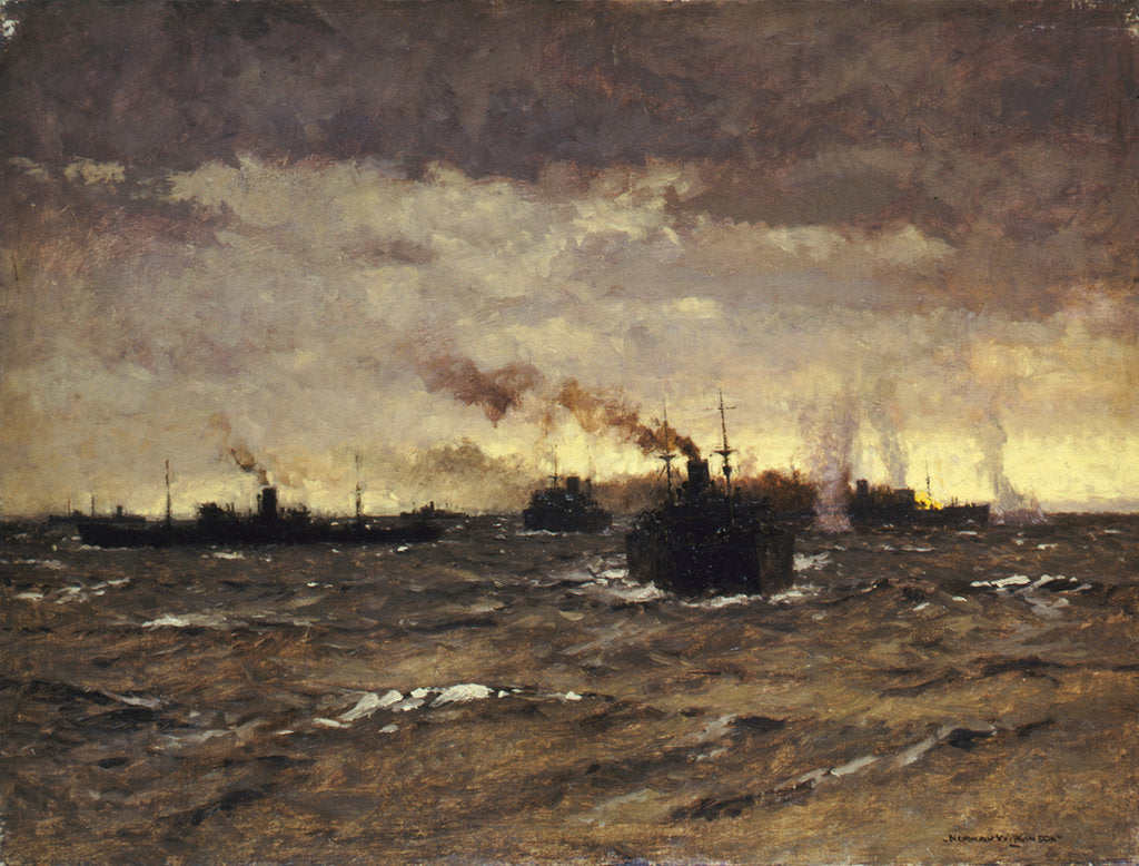 Detail of Raider in sight: convoy dispersing by Norman Wilkinson
