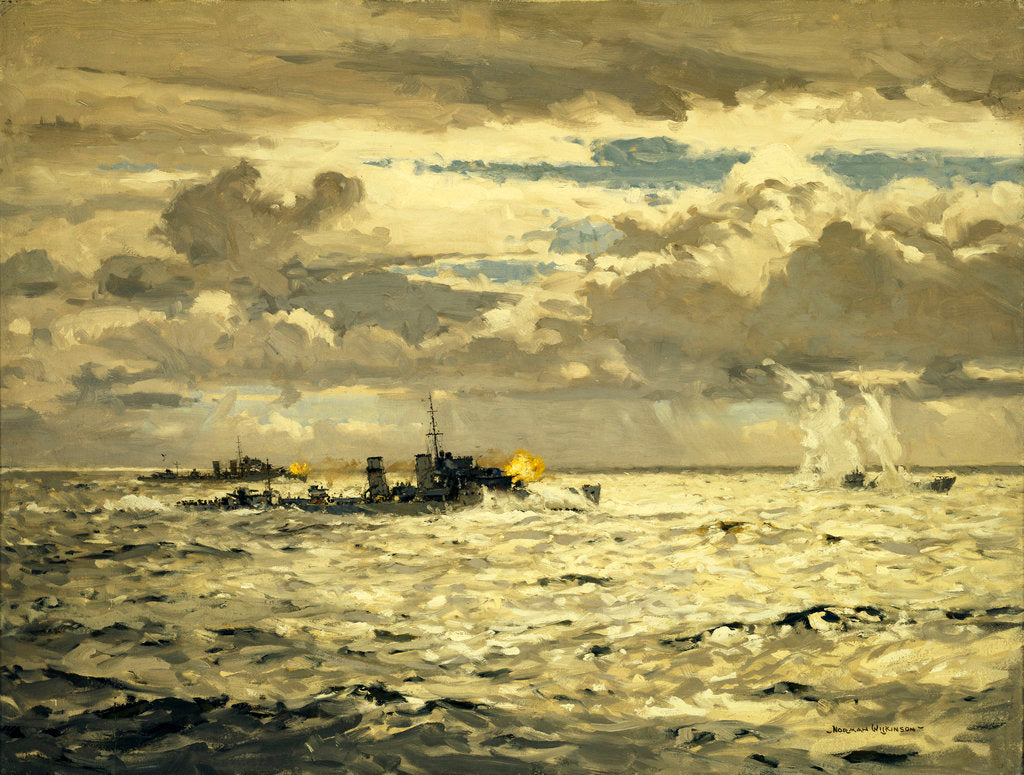 Detail of A destroyer sinking a submarine by Norman Wilkinson