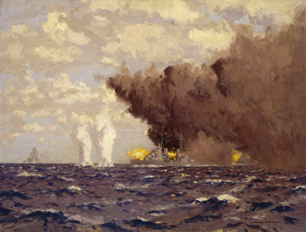 Detail of Admiral Vian's action at the Battle of Sirte, 22 March 1942 by Norman Wilkinson